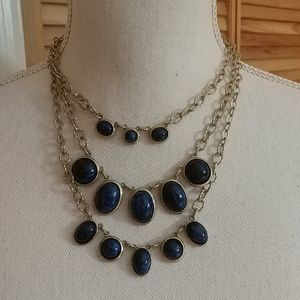 NWT CHICO'S Layered Gold & Blue Necklace